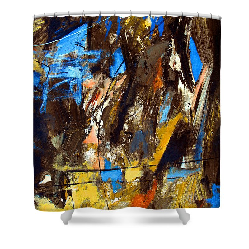 Abstract Shower Curtain featuring the painting I Hear You Through The Noise by Ruth Palmer