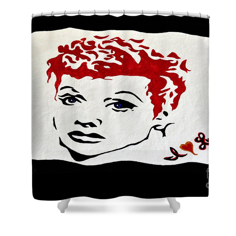 Lucy Shower Curtain featuring the painting I Love Lucy by Davids Digits