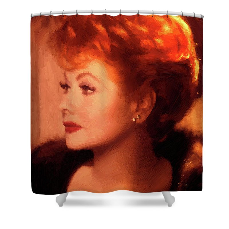 1950s Tv Stars Shower Curtain Featuring The Painting I Love Lucy By Peter Nowell