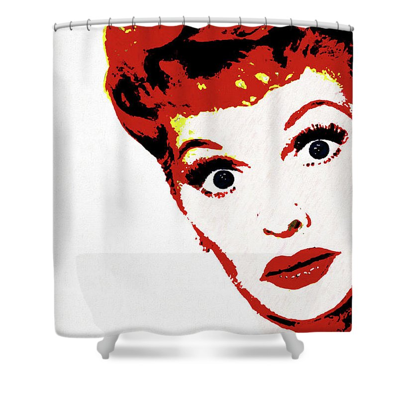 I Love Lucy Pop Art Shower Curtain Featuring The Painting By