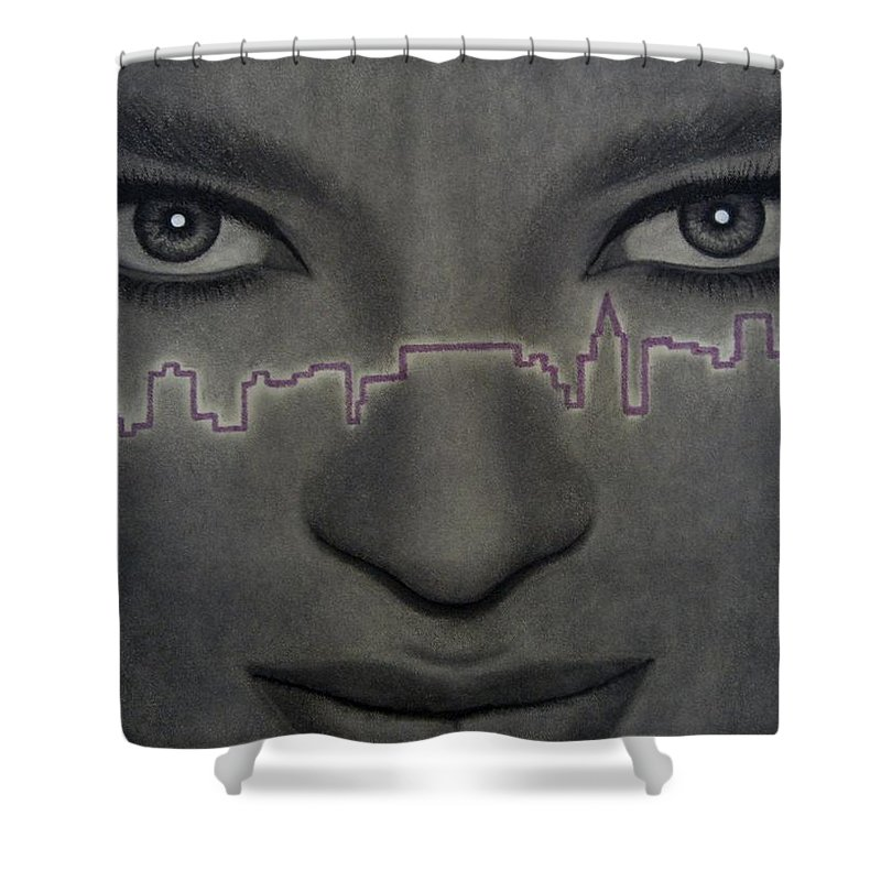 Woman Shower Curtain featuring the painting I Love New York by Lynet McDonald