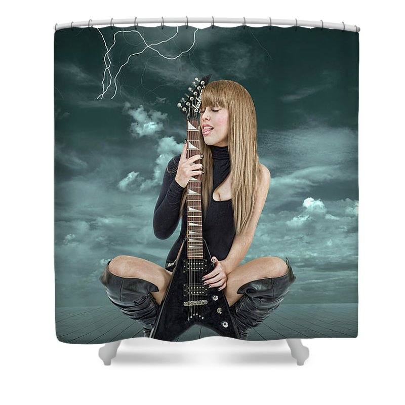 I Love Rock And Roll Shower Curtain Featuring The Mixed Media