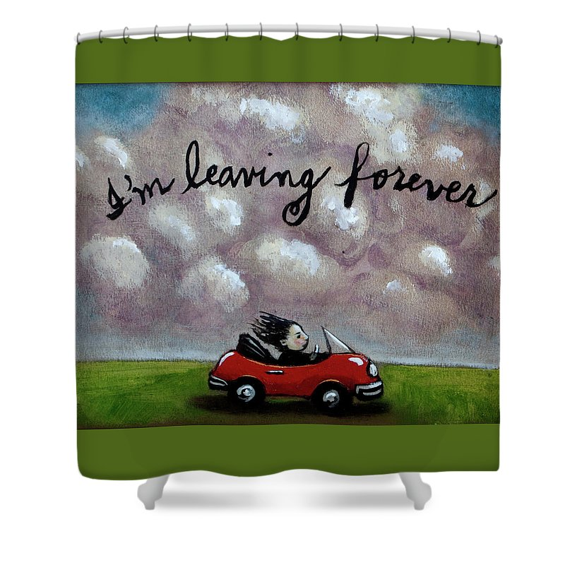 Car Shower Curtain featuring the painting Im Leaving Forever by Pauline Lim
