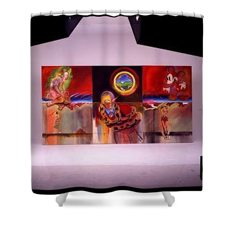 Spiderman Shower Curtain featuring the painting I Saw The Figure Five In Gold by Charles Stuart