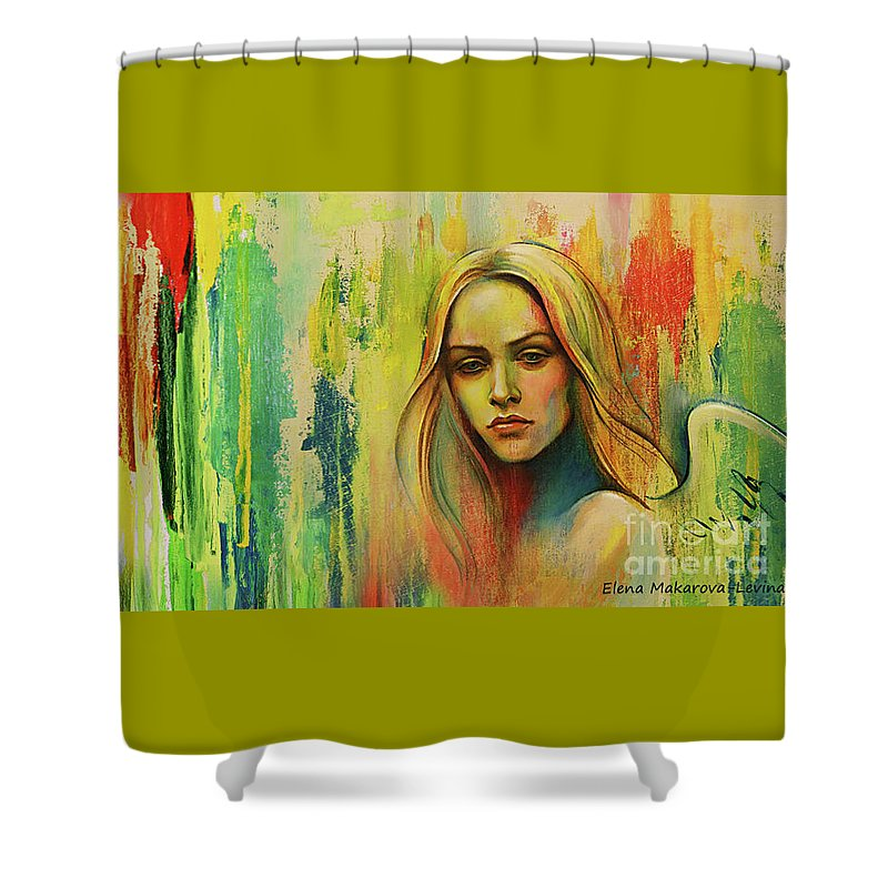 Angel Shower Curtain featuring the painting I Think About You_x by Elena Makarova-Levina