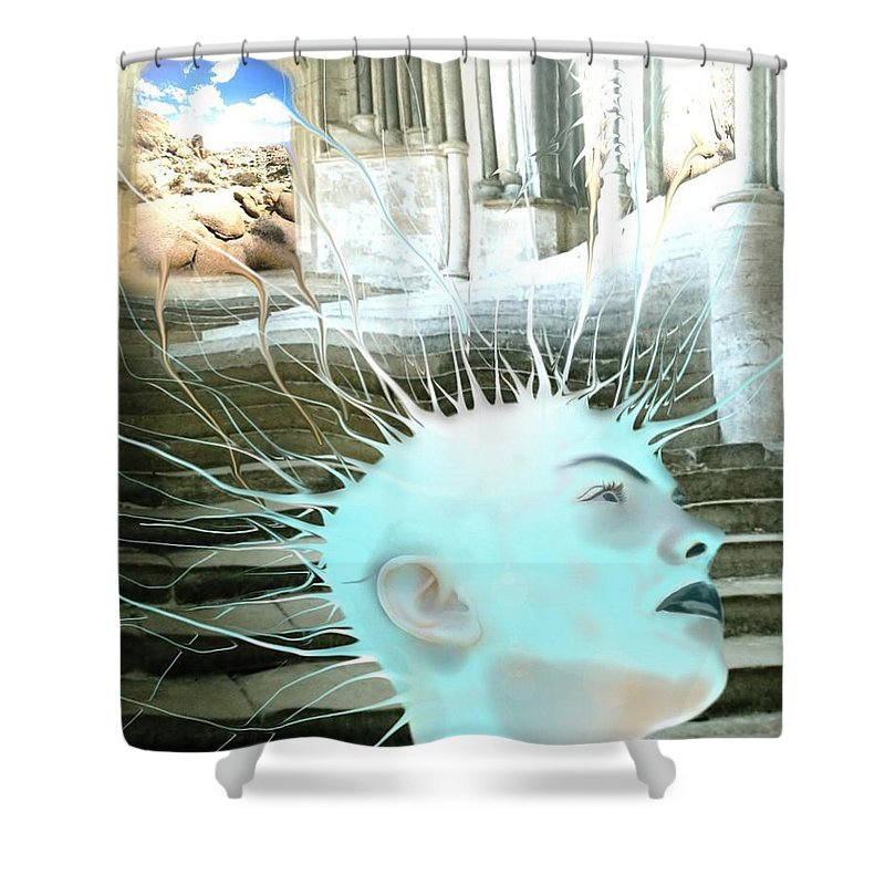 Thoughts Stairs Energy Space Shower Curtain featuring the digital art I by Veronica Jackson