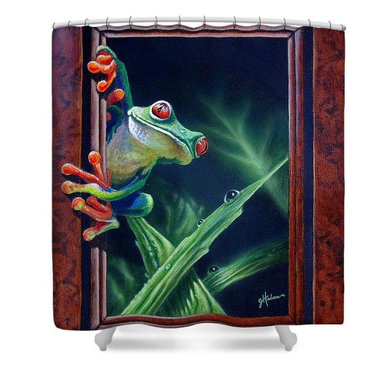 Green Tree Frog Shower Curtain featuring the painting 'i Was Framed' by Greg and Linda Halom