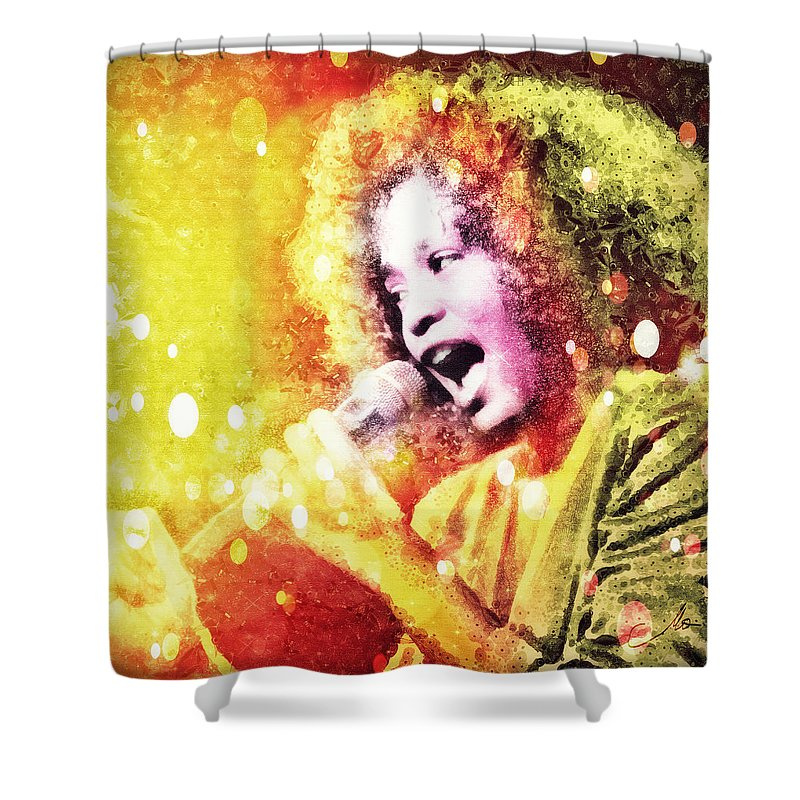 Whitney Houston Shower Curtain featuring the digital art I Will Always Love You by Mo T