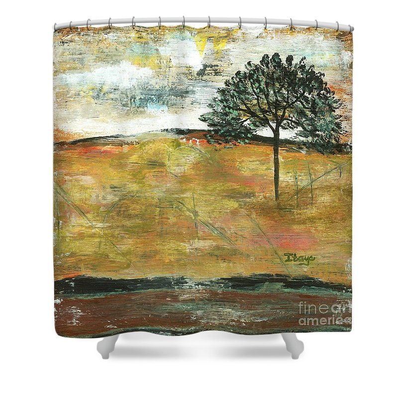 Landscape Shower Curtain featuring the painting I Will Remember by Itaya Lightbourne