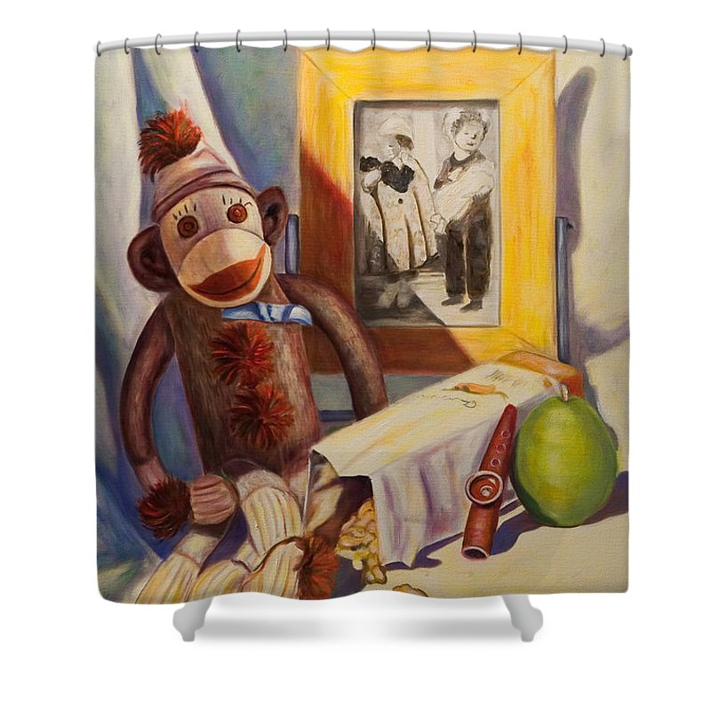 Children Shower Curtain featuring the painting I Will Remember You by Shannon Grissom