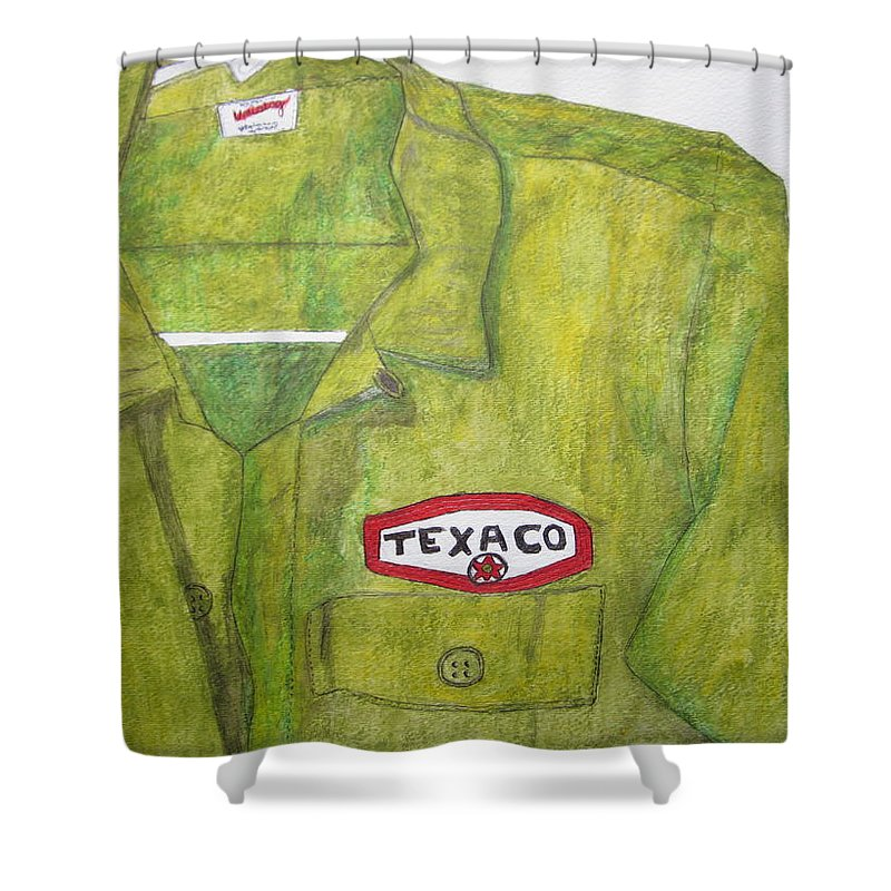 Vintage Shower Curtain featuring the painting I Worked At Texaco by Kathy Marrs Chandler