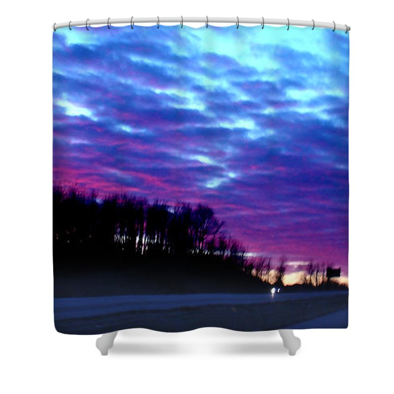 Landscape Shower Curtain featuring the photograph I70 West Ohio by Steve Karol