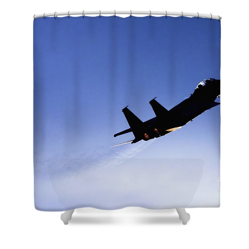 Aircraft Shower Curtain featuring the photograph Iaf F15i Fighter Jet by Nir Ben-Yosef