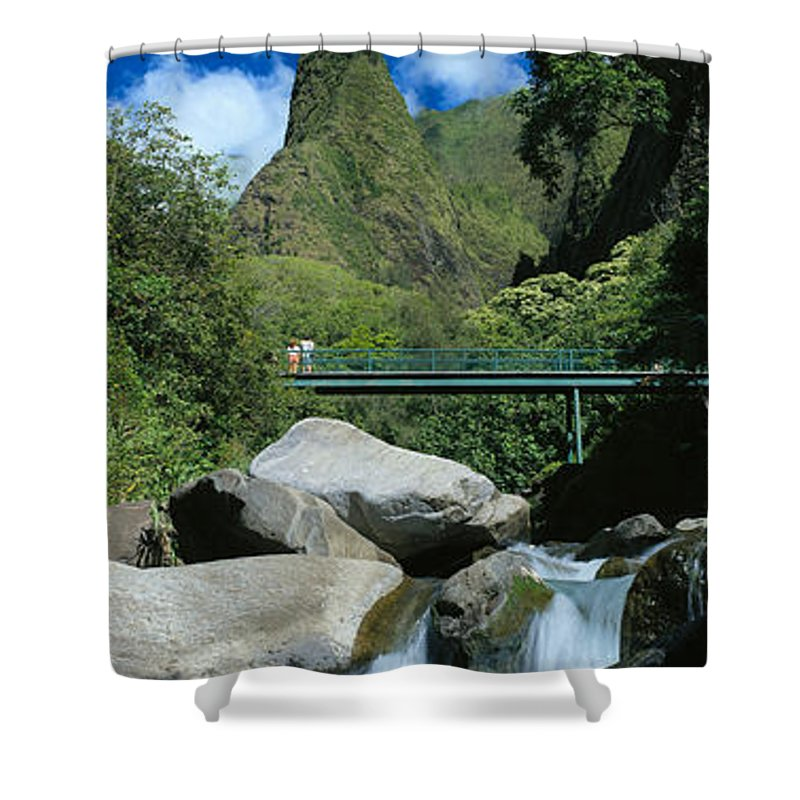 Blue Shower Curtain featuring the photograph Iao Needle And Creek by Carl Shaneff - Printscapes