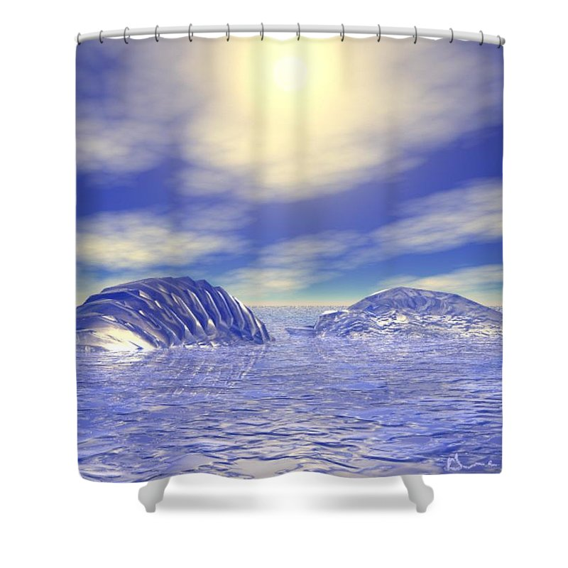 Digital Shower Curtain featuring the digital art Ice Caps by Gina Lee Manley