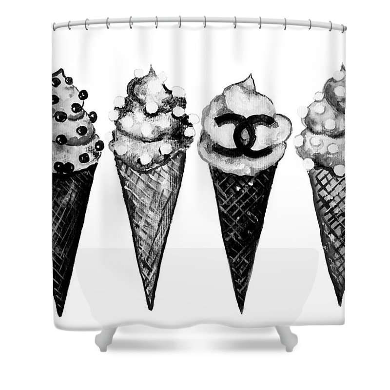 Chanel Shower Curtain featuring the painting Ice Cream Black ,chanel by Del Art