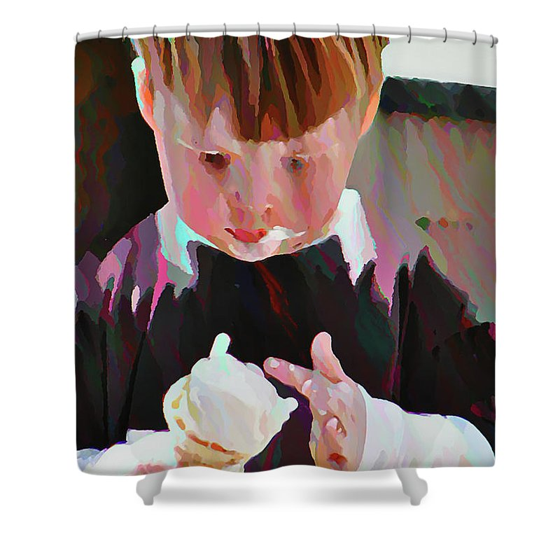 Boy Shower Curtain featuring the photograph Ice Cream Time by Bill Cannon