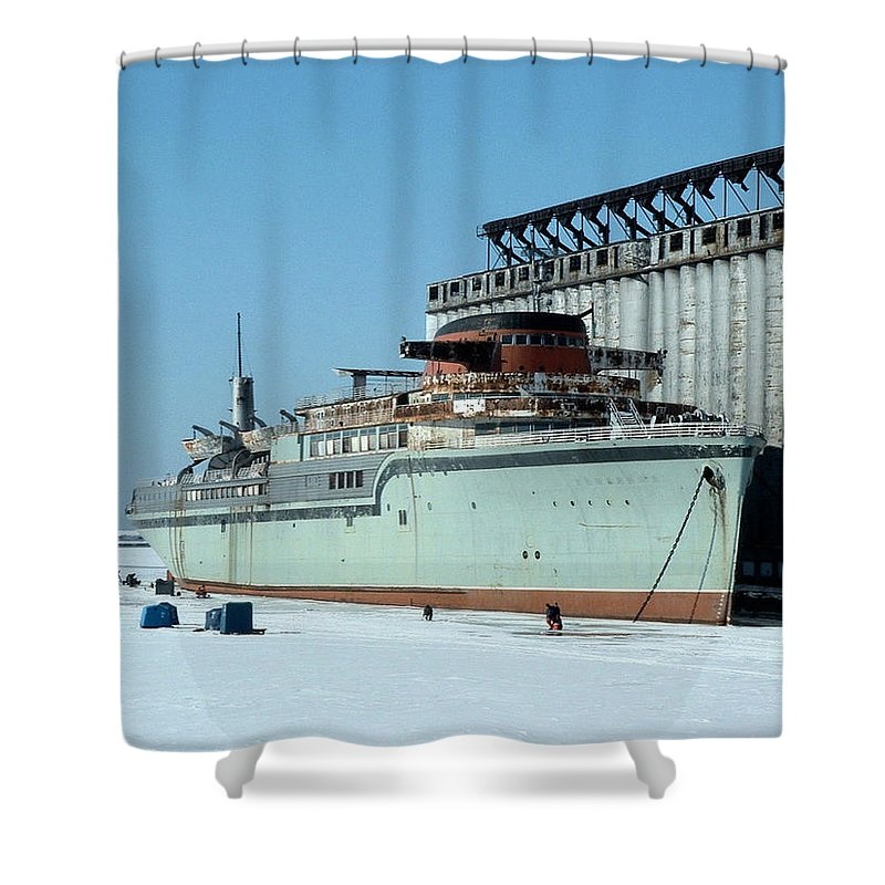 Ice Fishing Shower Curtain featuring the photograph Ice Fishing On Lake Erie by Ely Arsha