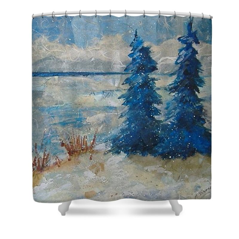 Landscape Shower Curtain featuring the mixed media Ice On Lake Erie by Pat Snook
