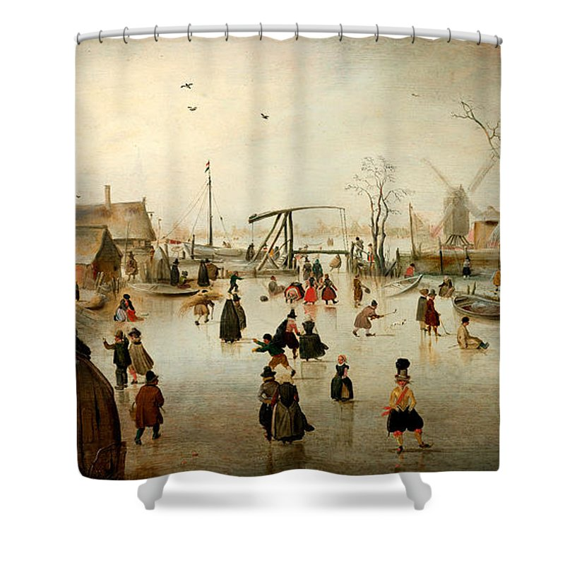 Hendrick Avercamp Shower Curtain featuring the painting Ice Skating In A Village by Hendrick Avercamp