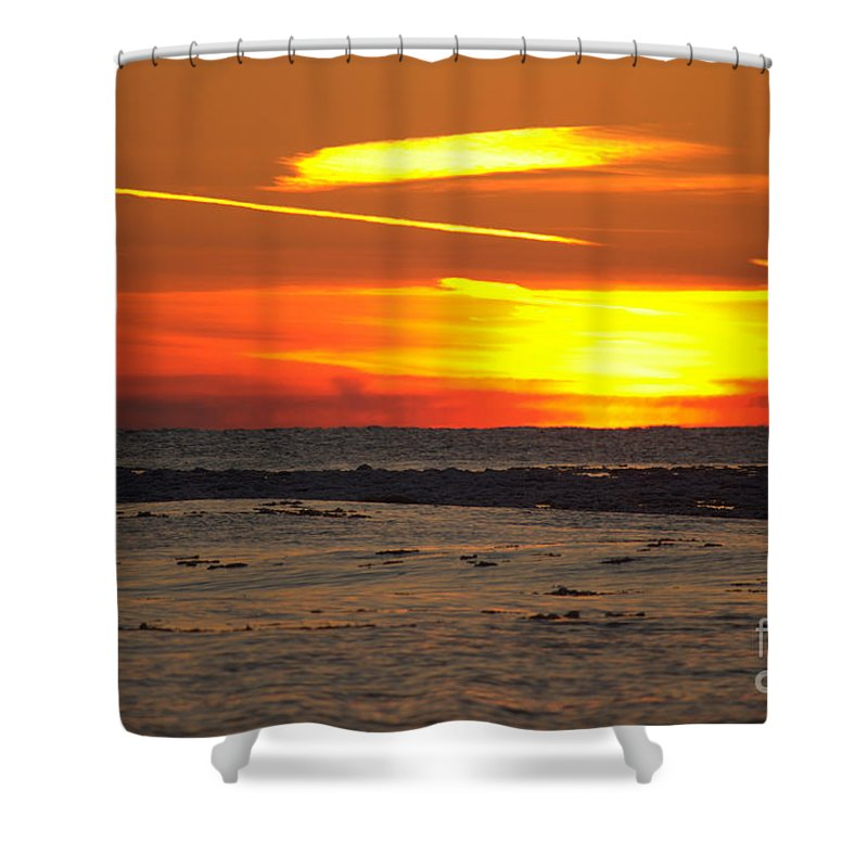 Grand Bend Shower Curtain featuring the photograph Ice Slick Glow by John Scatcherd