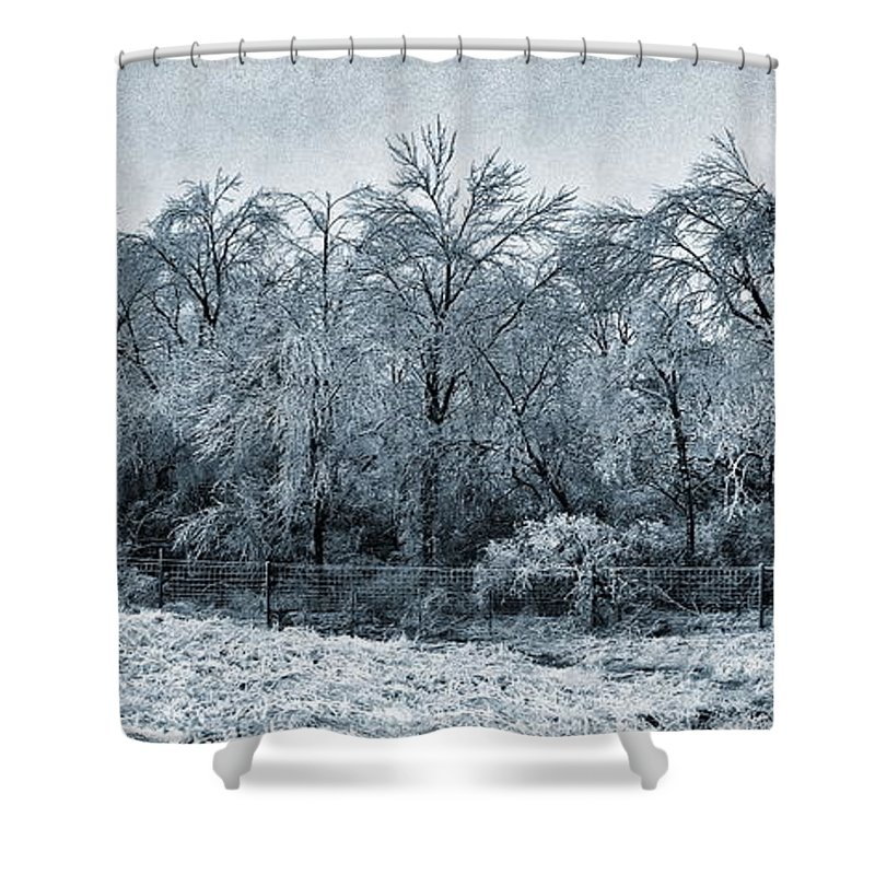 Ice Storm Winter Snow Snowstorm Flint Hills Kansas Shower Curtain featuring the photograph Ice Storm In The Flint Hills No 1 2724 by Ken DePue