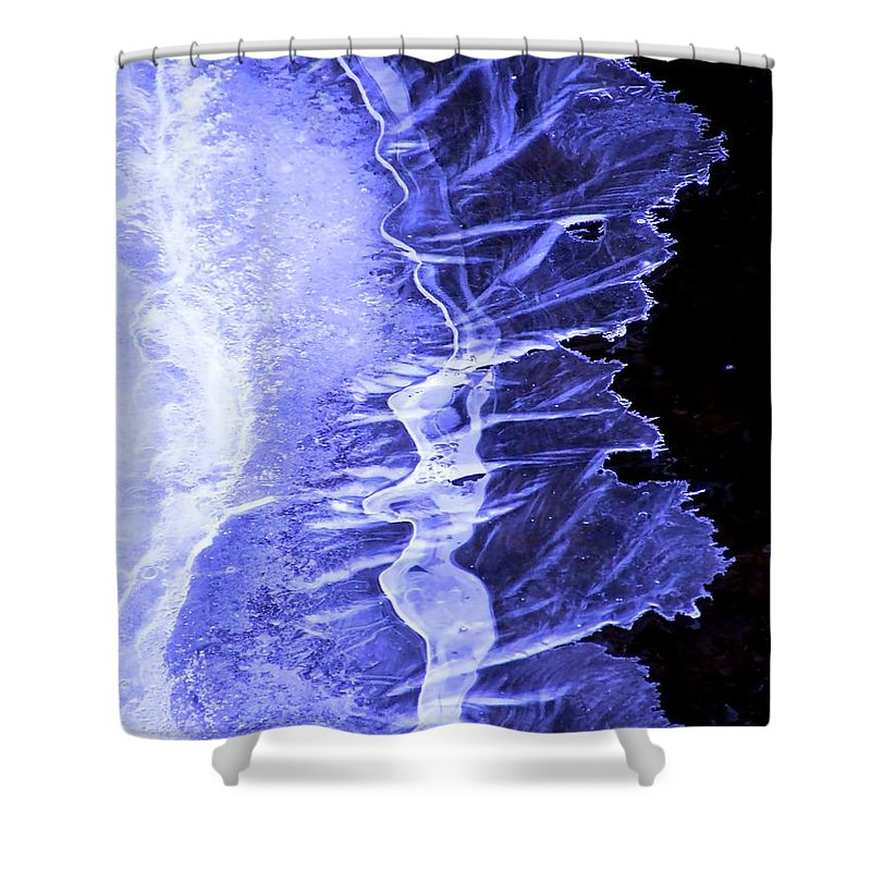 Ice Shower Curtain featuring the photograph Blue Ice by Tiffany Vest