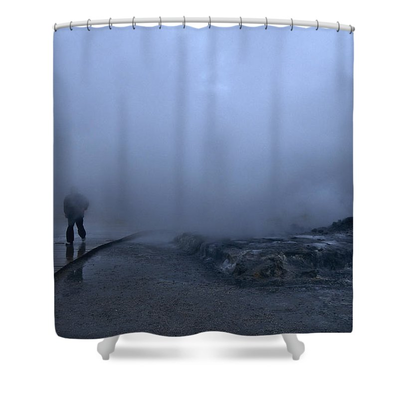 Beauty In Nature Shower Curtain featuring the photograph Iceland Geyser by Keenpress