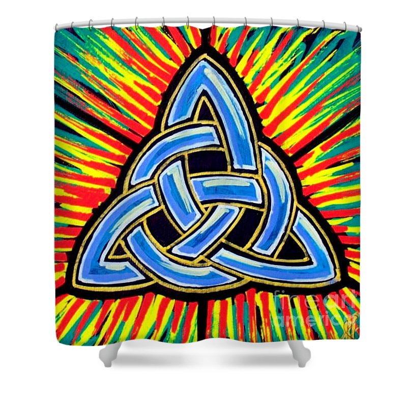 Trinity Shower Curtain featuring the painting Icon Celtic Trinity by Jim Harris