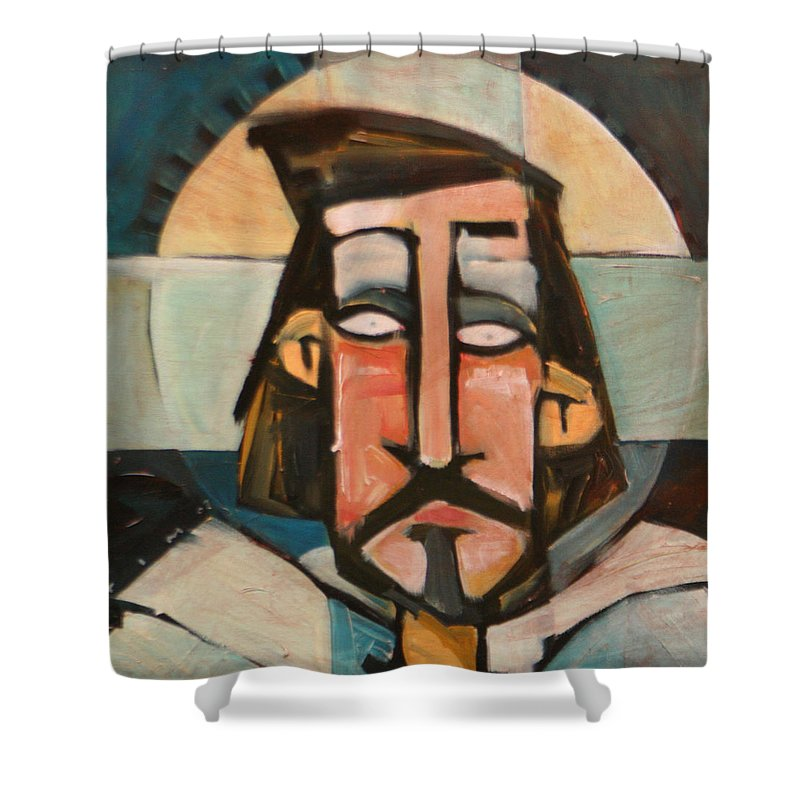 Christ Shower Curtain featuring the painting Icon Number 1 by Tim Nyberg