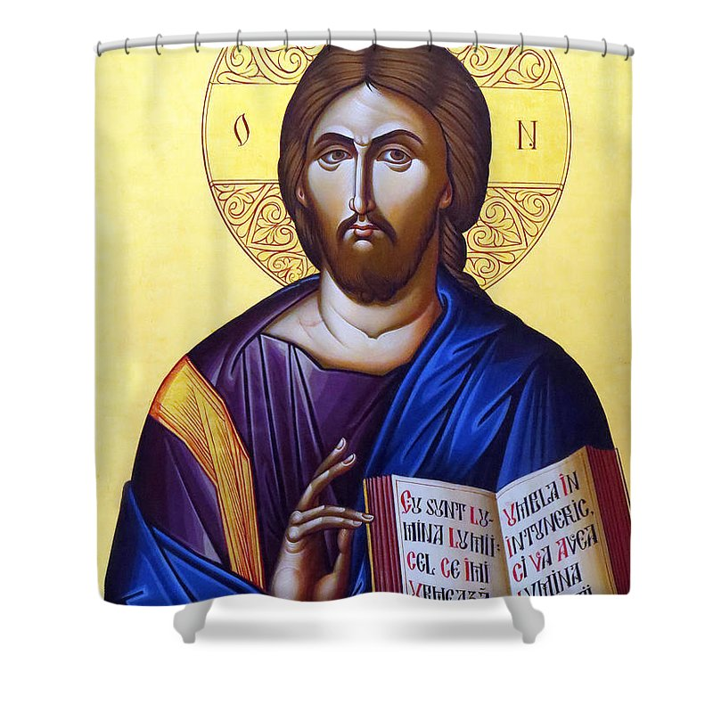 Icon Of Christ Shower Curtain featuring the photograph Icon Of Christ In Jericho by Munir Alawi