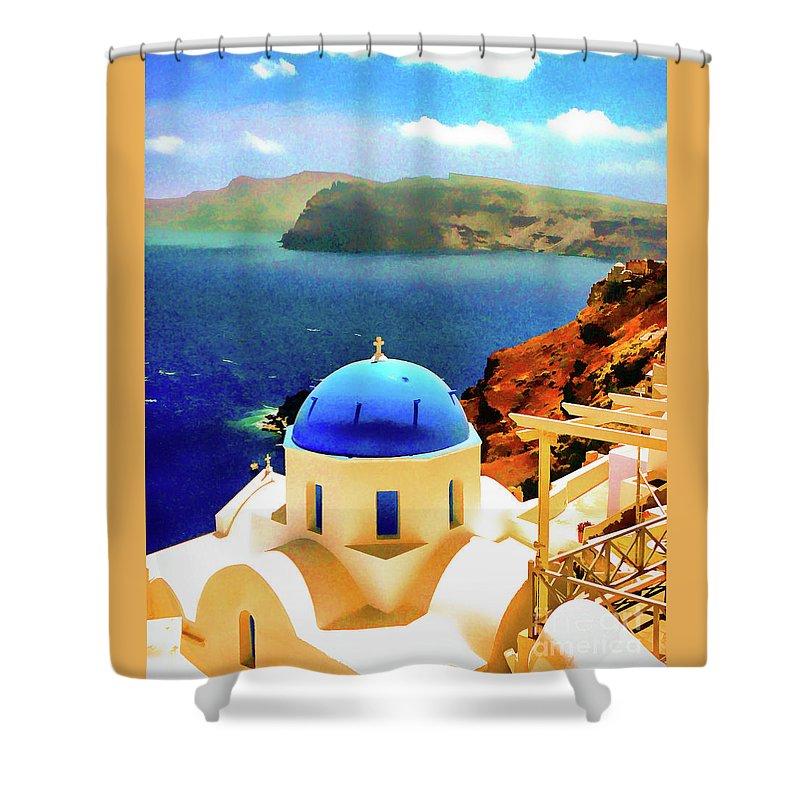 Church Shower Curtain featuring the photograph Iconic Anastaseos Oia Santorini Greece by Bob Lentz
