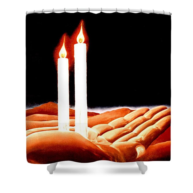 Surreal Shower Curtain featuring the painting Iconoclastic Tears by Mark Cawood