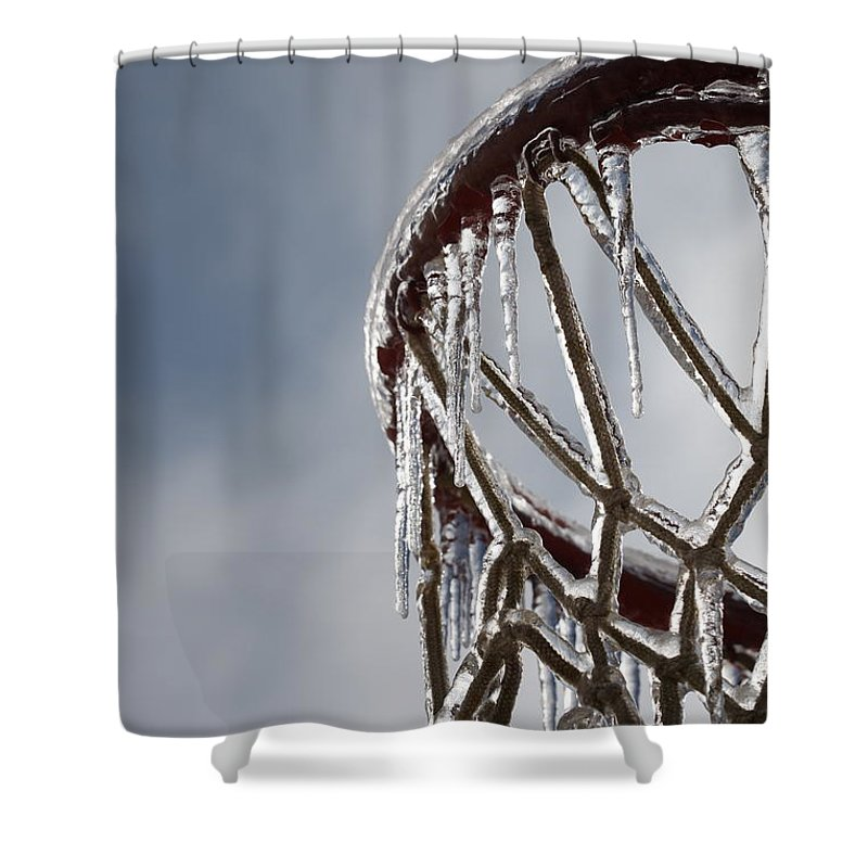 Basketball Shower Curtain featuring the photograph Icy Hoops by Nadine Rippelmeyer