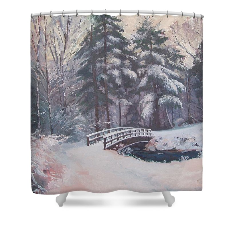 Landscape Shower Curtain featuring the painting Icy Stream by Dianne Panarelli Miller