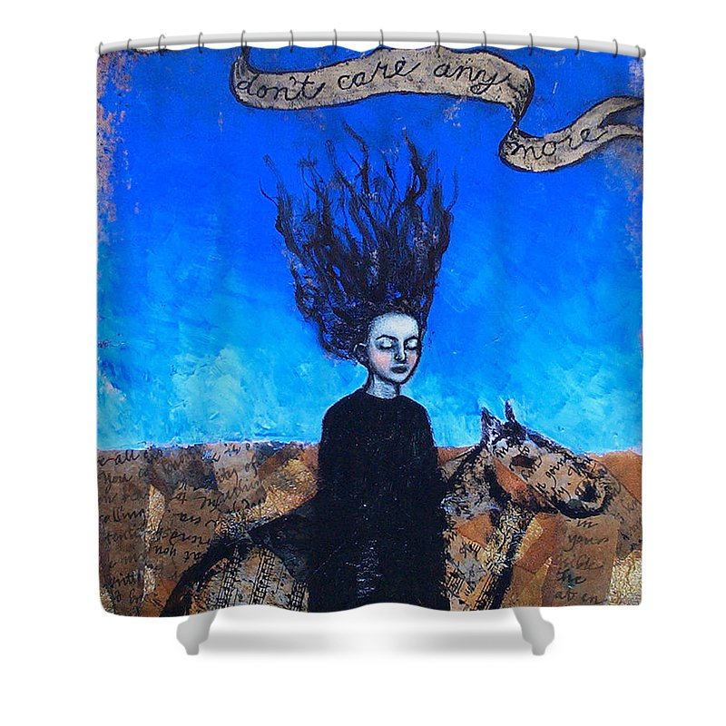 Shower Curtain featuring the painting Idontcareanymore by Pauline Lim
