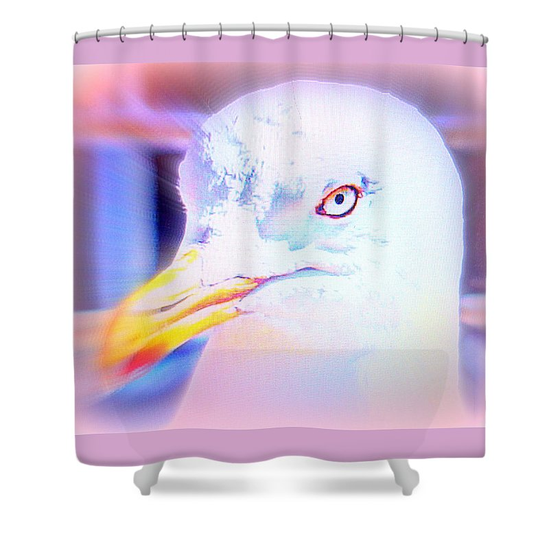 Cat Shower Curtain featuring the photograph If The Bird Is A Predator Put It In Jail by Hilde Widerberg