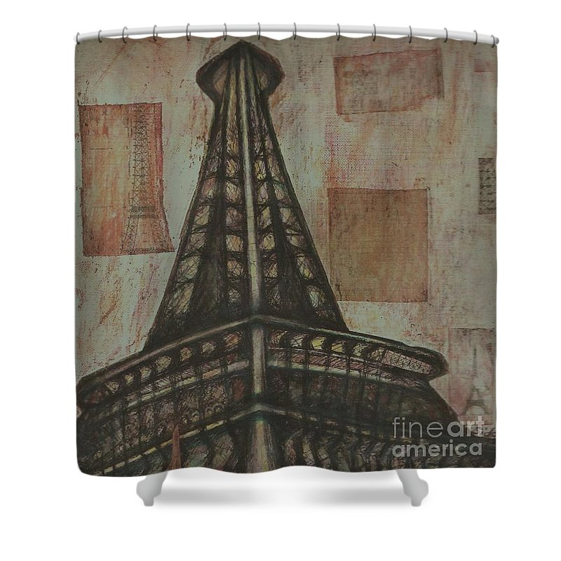 Structures Shower Curtain featuring the painting Iffel Tower by Sidra Myers