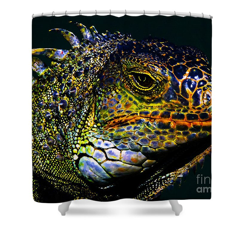 Art Shower Curtain featuring the painting Iguana by David Lee Thompson