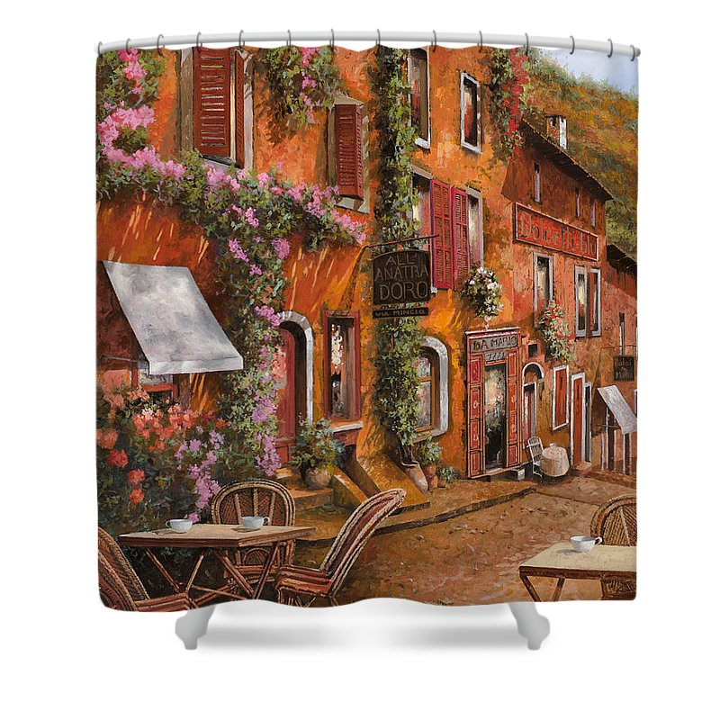 Cityscape Shower Curtain featuring the painting Il Bar Sulla Discesa by Guido Borelli