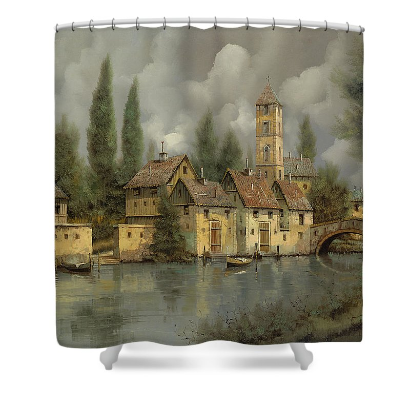 River Shower Curtain featuring the painting Il Borgo Sul Fiume by Guido Borelli