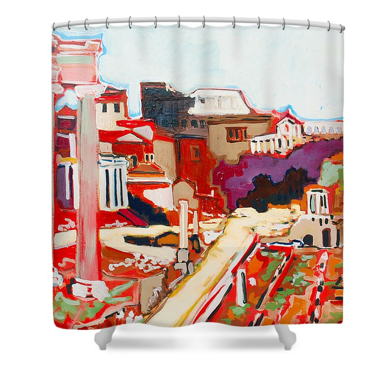 Rome Shower Curtain featuring the painting Il Foro Romano by Kurt Hausmann