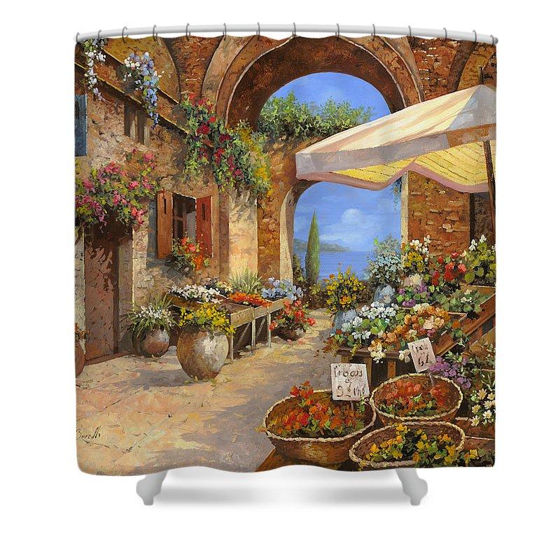 Landscape Shower Curtain featuring the painting Il Mercato Del Lago by Guido Borelli