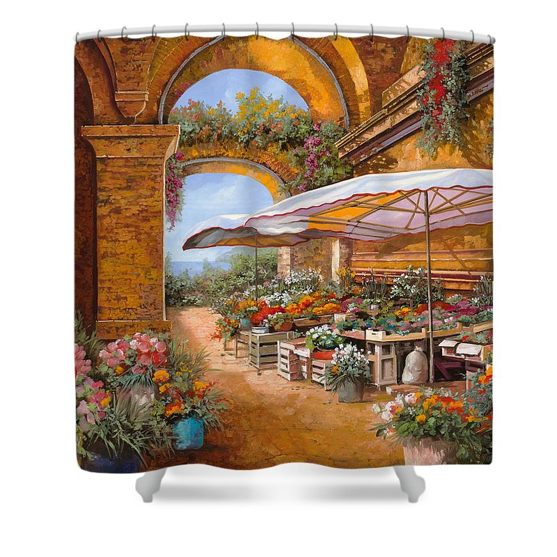 Market Shower Curtain featuring the painting Il Mercato Sotto I Portici by Guido Borelli