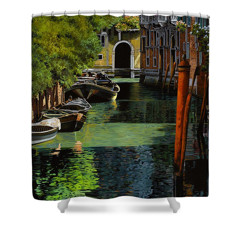 Venice Shower Curtain featuring the painting il palo rosso a Venezia by Guido Borelli