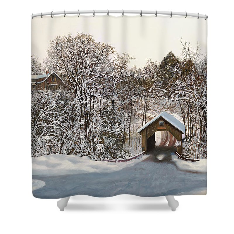 Stowe Shower Curtain featuring the painting Il Ponte Coperto Di Legno by Guido Borelli