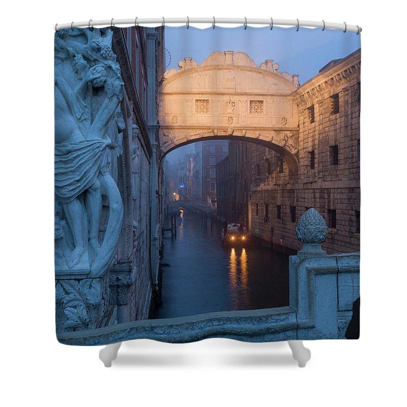 Italy Shower Curtain featuring the photograph Illuminated Bridge by Chris Beard