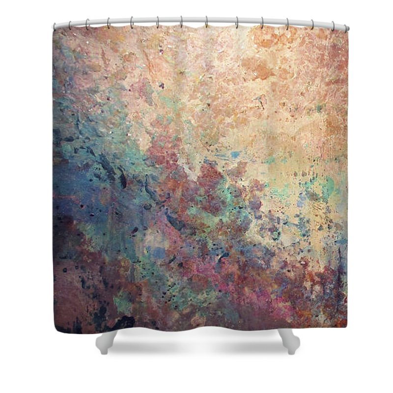 Mica Shower Curtain featuring the painting Illuminated Valley I Diptych by Shadia Derbyshire