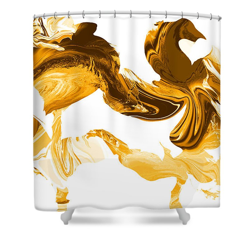 Illusions Shower Curtain featuring the painting Illusions In Gold by Abstract Angel Artist Stephen K