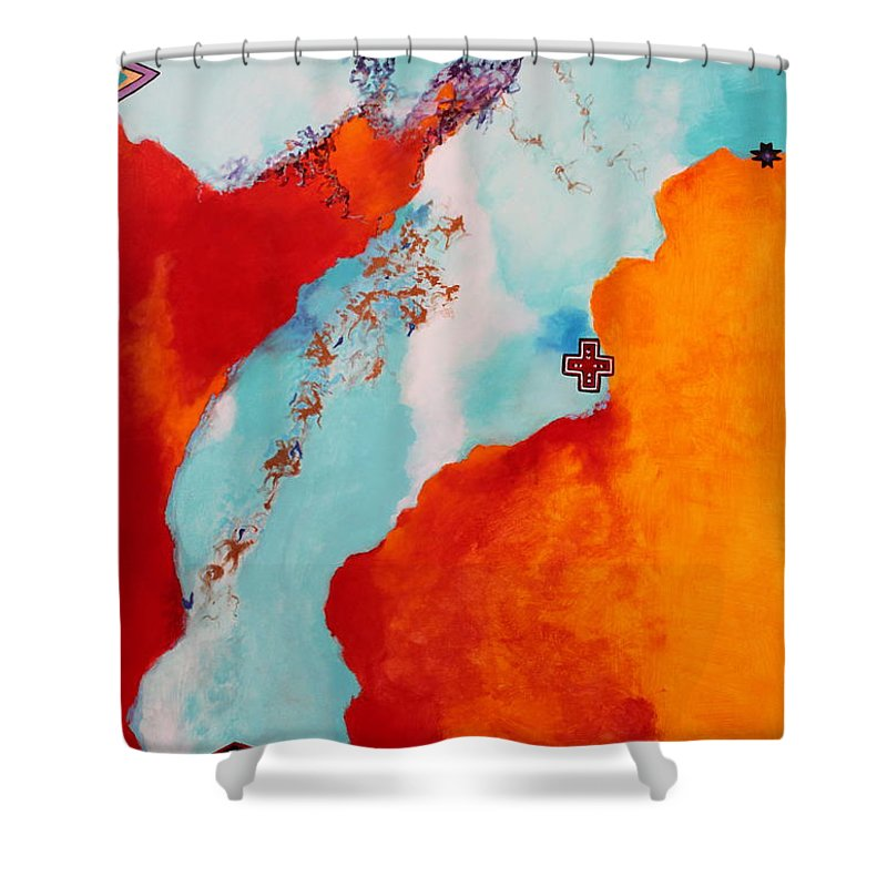 Stream Shower Curtain featuring the painting Illusions by M Diane Bonaparte